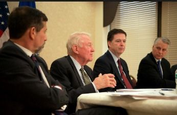 FBI 9-11-fbi-commission James Comey, Tim Roemer, Ed Meese and Bruce Hoffman (FBI Photo)