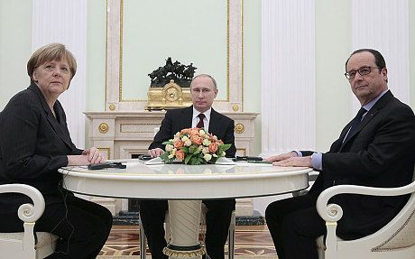 Angela Merkel, Francois Hollande and Vladimir Putin, Moscow, Feb. 6, 2015