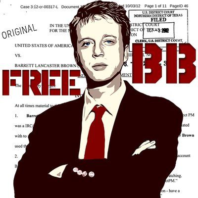 Convicted hacker Barrett Brown, shown in graphic by Anonymous
