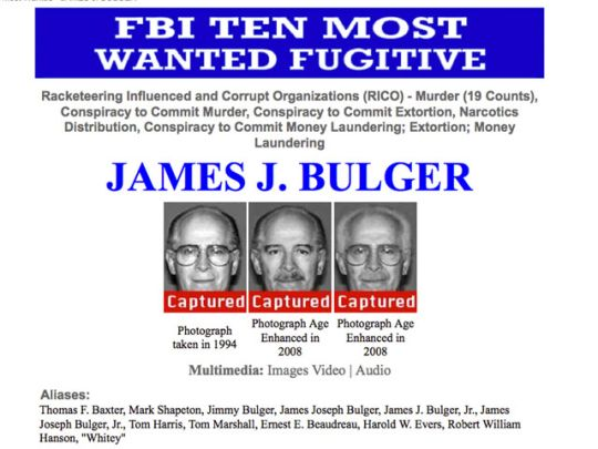 Whitey Bulger Wanted Poster