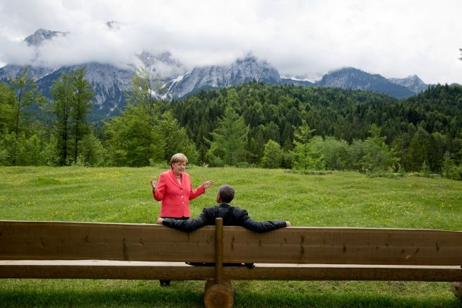 President Obama and Angela Merkel, at the G7 Summit at Schloss Elmau in Bavaria, Germany, June 8,2015