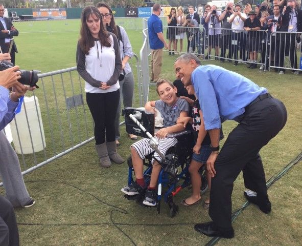 President Obama meets 12-year-old expelled from Trump rally (Facebook photo)