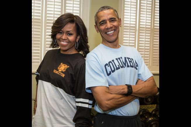 President and Mrs. Obama in college tshirts, May 1, 2015