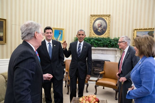 President Obama meets with Mitch McConnell, Paul Ryan, Harry Reid and Nancy Pelosi Sept. 12, 2016
