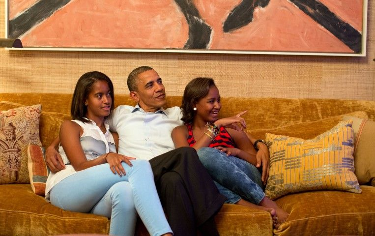 President Obama and his daughters, Malia, left, and Sasha Sept. 4, 2012 (Pete Souza)