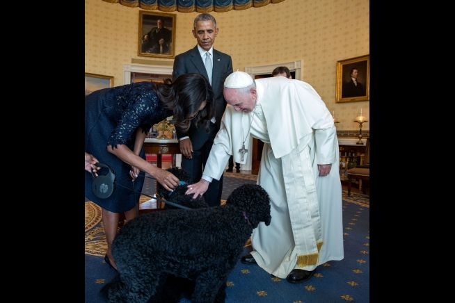 President and Mrs. Obama with Pope Francis and pet dog Sept. 23, 2015 WH