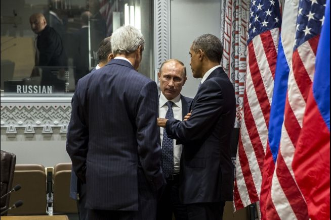 Presidernt Obama, Russian President Vladimir Putin and Secretary of State Kerry at UN Sept. 28, 2015