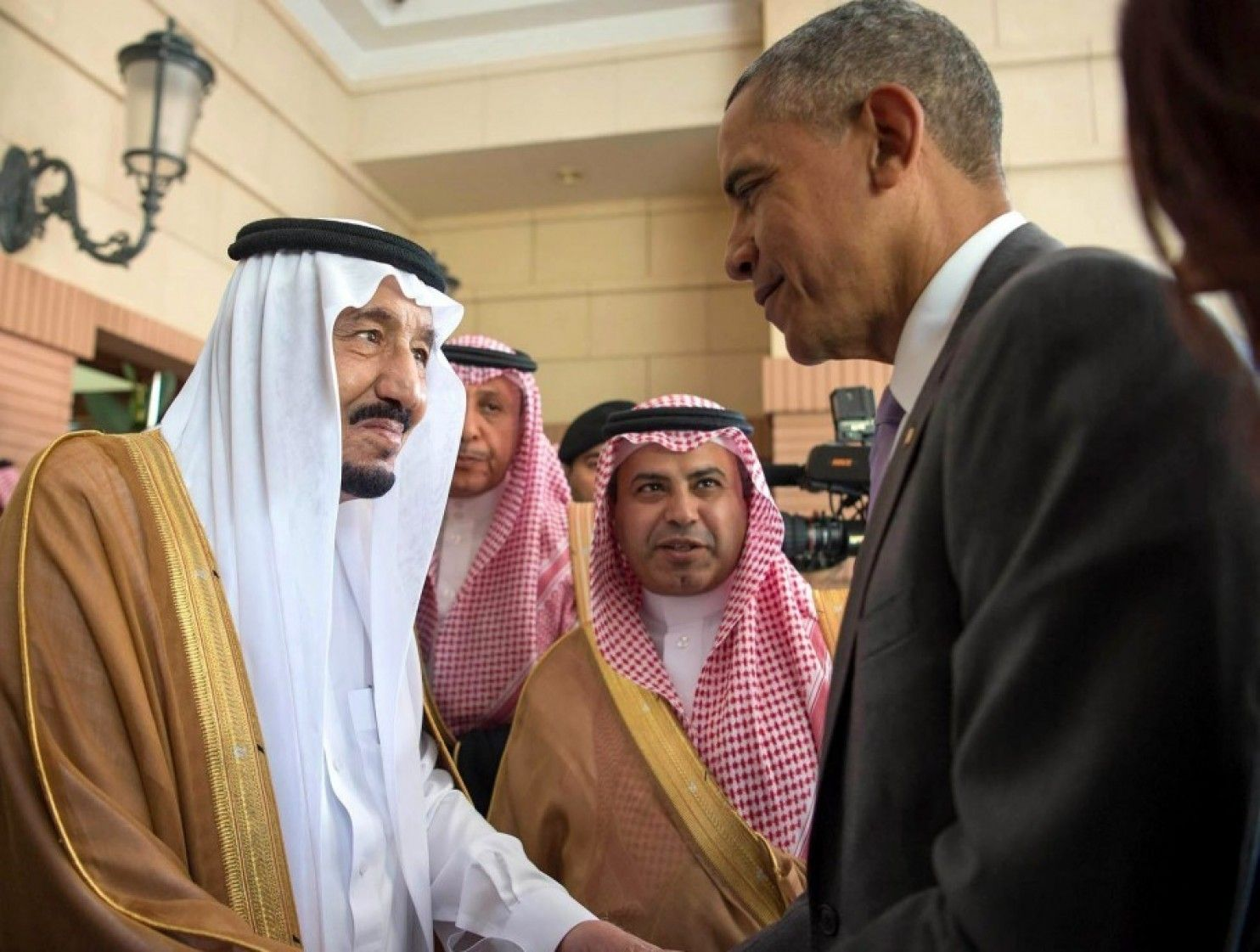 President Obama with Saudi King Salman bin Abdul Aziz al Saud in Riyadh, April 20, 2016 (Saudi Press Agency)