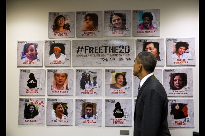 President Obama at UN sees female prisoners display Sept. 27, 2015