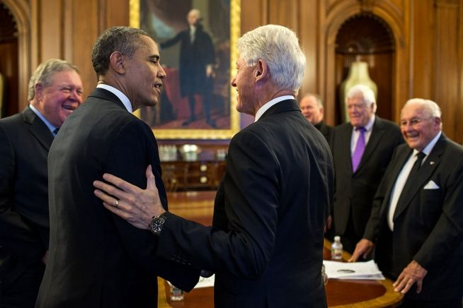 Barack Obama and Bill Clinton at Tom Foley Funeral, Oct. 29, 2013.
