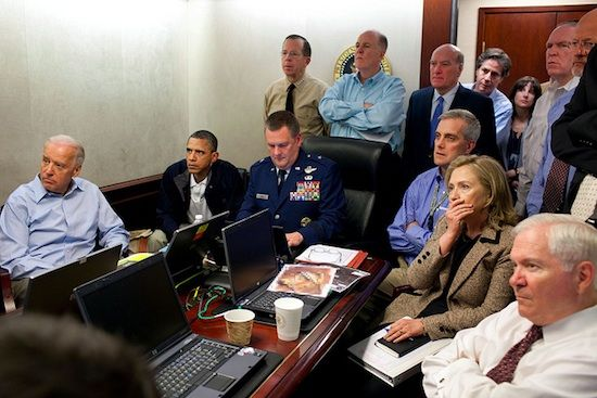 Barack Obama and White House at May 2, 2011 observation of Bin Laden Raid