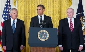 Barack Obama nominates Chuck Hagel and John Brennan, Jan. 7, 2013 (White House photo)
