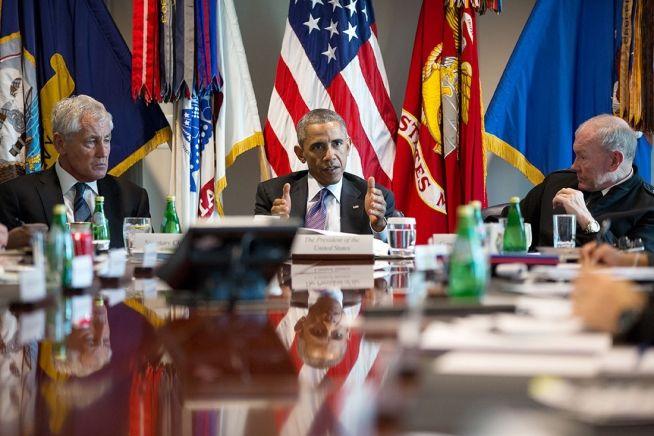 President Obama with Defense Secretary Chuck Hagel and National Security Advisor Martin Dempsey