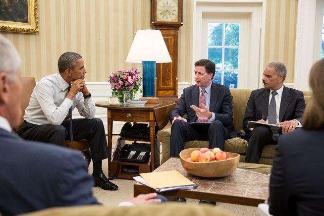 Barack Obama James Comey Eric Holder Chuck Hagel Lisa Monaco