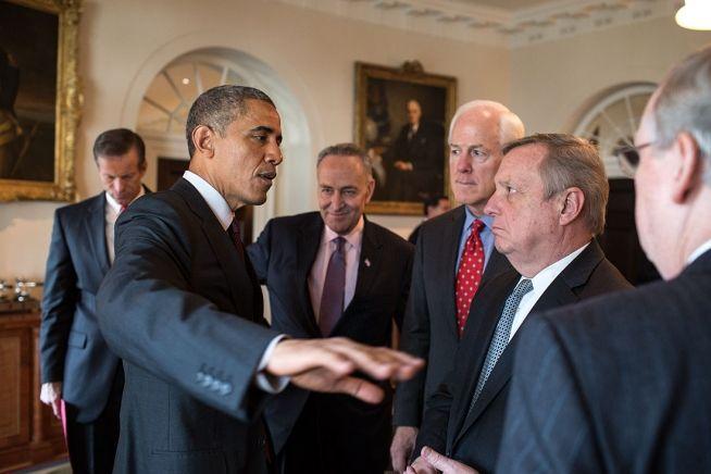 Barack Obama and congressional leaders Jan. 13, 2015