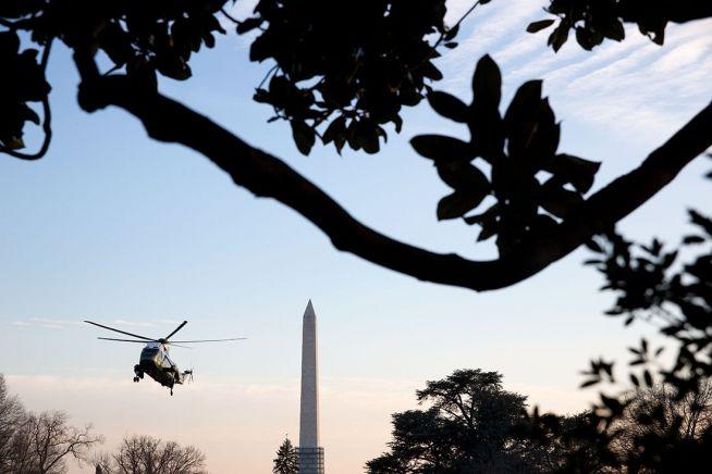 Barack Obama flying in Marine One past Washington Monument Feb. 7, 2014