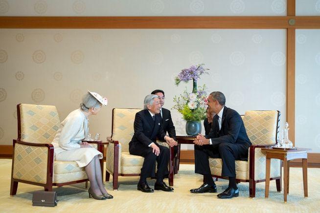 President Obama with Japan's Emperor Akihito andEmpress Michiko, April 24, 2014