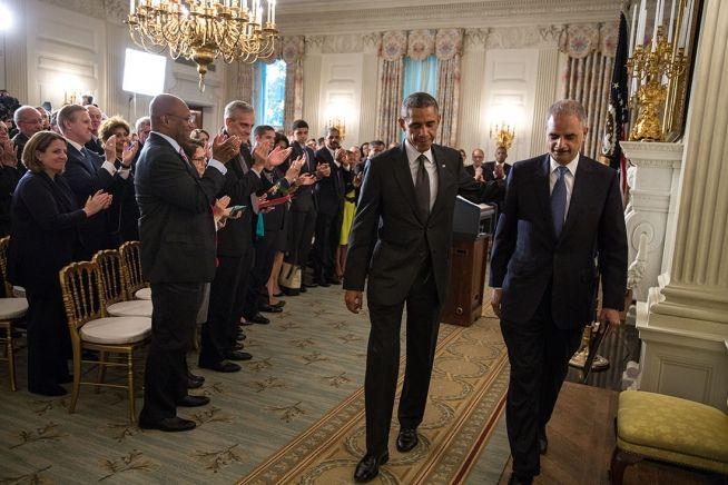 Barack Obama and Eric Holder Sept. 25, 2014 WH Photo