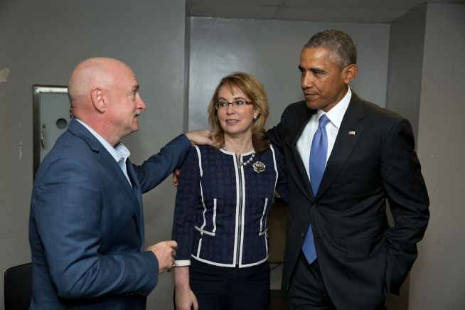 Barack Obama, Gabby Giffords, Mark Kelly, Jan. 8, 2015