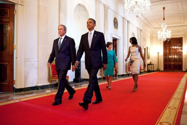 Barack Obama, George W. Bush, Michelle Obama, Laura Bush, May 3, 2012 WH Photo