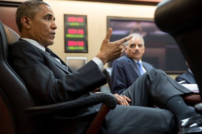Barack Obama and Eric Holder, Jan. 8, 2014