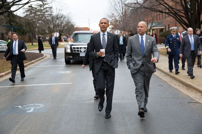 Barack Obama and Jeh Johnson Feb. 2, 2015