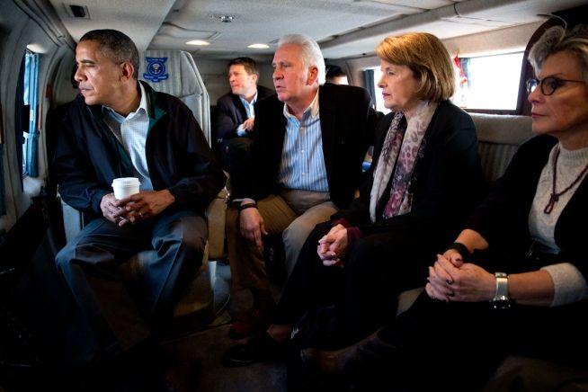 Barack Obama, Rep. Jim Costa, Sen. Dianne Feinstein and Sen. Barbara Boxer, Feb. 14, 2014