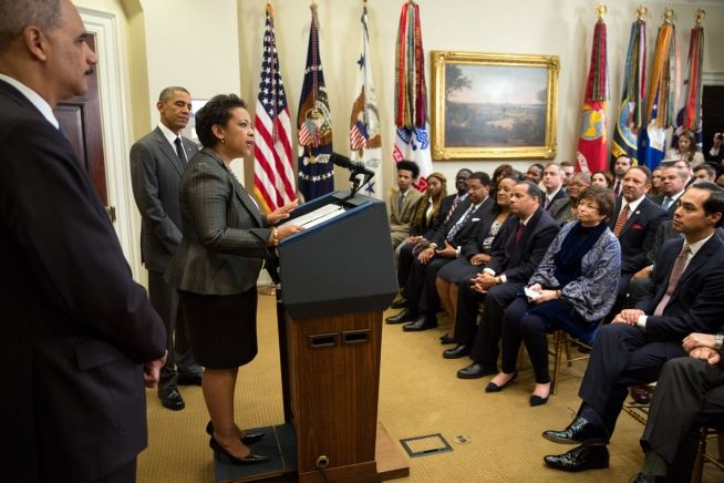 Barack Obama, Loretta Lynch Nov. 8, 2014 (White House Photo)