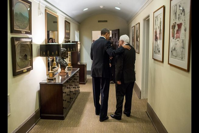 Barack Obama with Mahmoud Abbas at White House, March 17, 2014