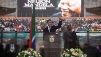Barack Obama at Nelson Mandela Memorial in South Africa, Dec. 10, 2013