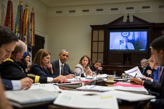 President Obama and National Security Staff, Oct. 6, 2014