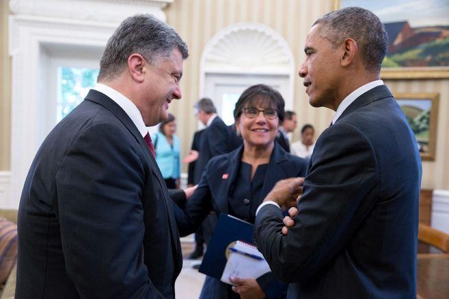 Barack Obama, Penny Pritzker and Petro Poroshenko Sept. 18, 2014