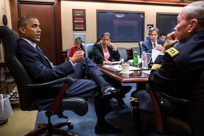 Barack Obama and security staff Aug. 7, 2014