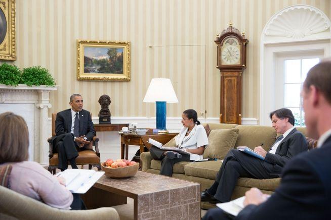 Barack Obama Aug. 8, 2014 with Susan E. Rice; Tony Blinken, Jake Sullivan and Lisa Monaco
