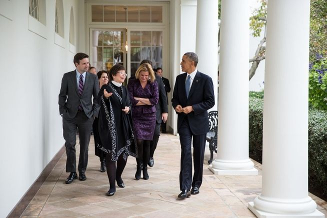 Barack Obama, Valerie Jarrett and other senior advisors (Nov. 5, 2014)