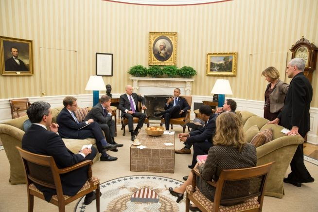 Barack Obama and Senior Staff, Oct. 4, 2013