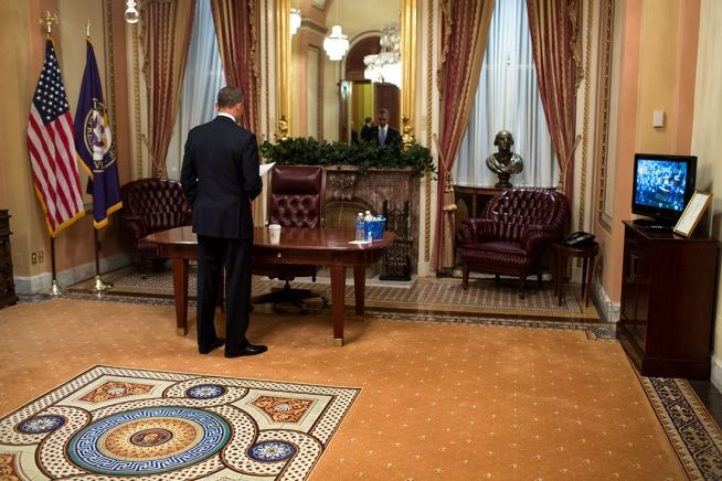 President Obama reviews State of the Union address Jan. 28, 2014 (White House Photo)