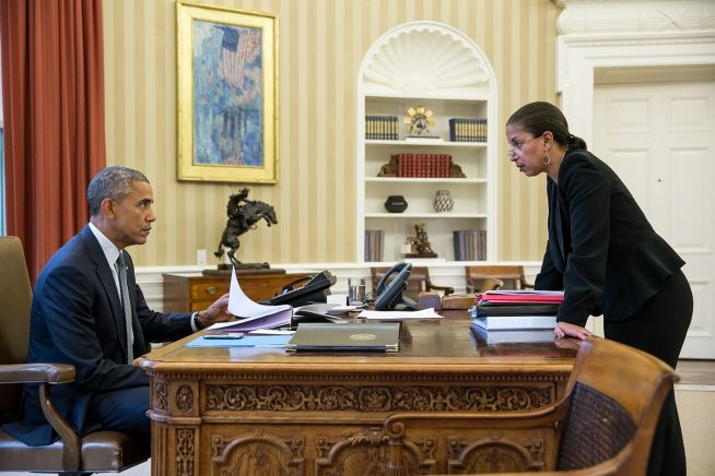President Barack Obama talks with National Security Advisor Susan E. Rice