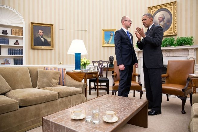 Barack Obama and Ukraine Interim Prime Minister Arseniy Yatsenyuk March 12, 2014
