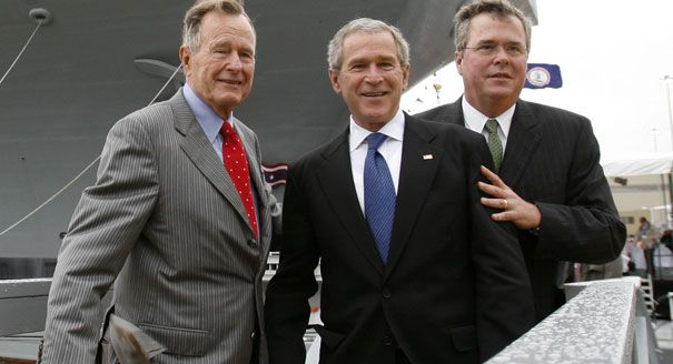 Bush Family, from left, George H.W. Bush, George W. Bush, and Jeb Bush