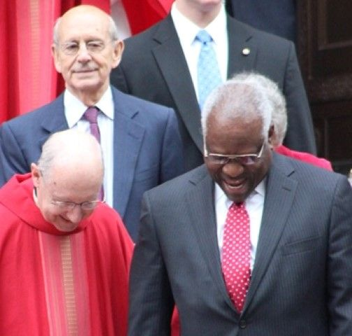 Clarence Thomas and Stephen Breyer with clergy (Red Mass 2015 -- JIP Photo)