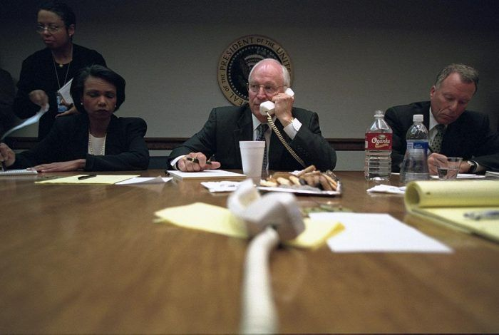 "Vice President Cheney with National Security Advisor Condoleezza Rice and Chief of Staff I. Lewis ""Scooter"" Libby in the President's Emergency Operations Center (PEOC), September 11, 2001.  Photo credit: The U.S. National Archives / Flickr"