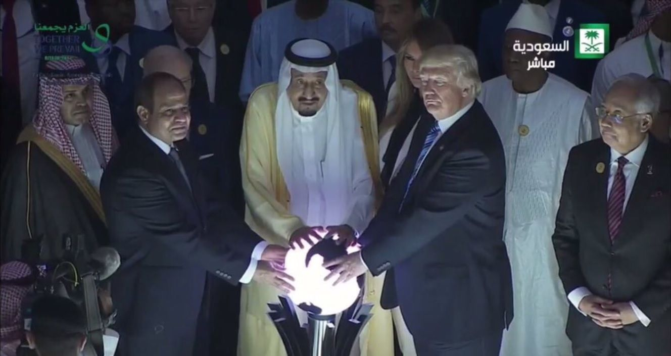 President Trump opens Global Center for Combating Extremist Ideology with Egypt's al-Sissi and Saudi Arabia's King Salman (Washington Post photo)