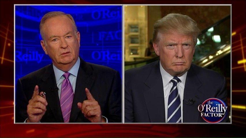Fox News' anchor Bill O'Reilly interviewing President Donald Trump