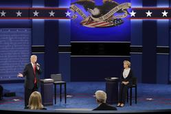 Donald Trump, Hillary Clinton, Second Debate Oct. 9, 2016 file photo