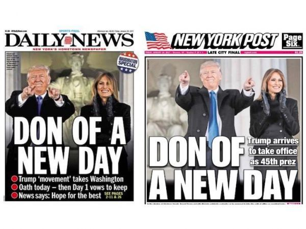 Donald Trump Inauguration covers New York Daily News and Post