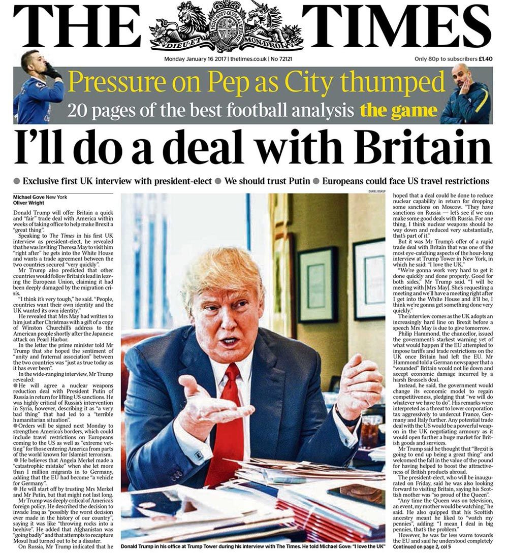 Doanld Trump London Times interview Jan. 16, 2017
