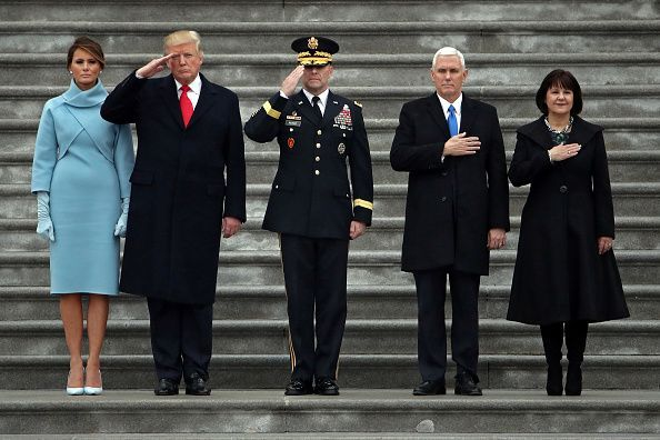 Donald Trump, Mike Pence, wives Melania and Karen at Inaugural, Jan. 20, 2017