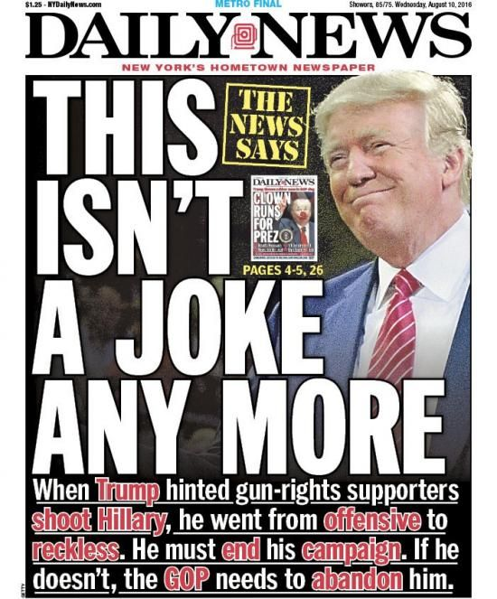 Donald Trump New York Daily News front page Aug. 11, 2016