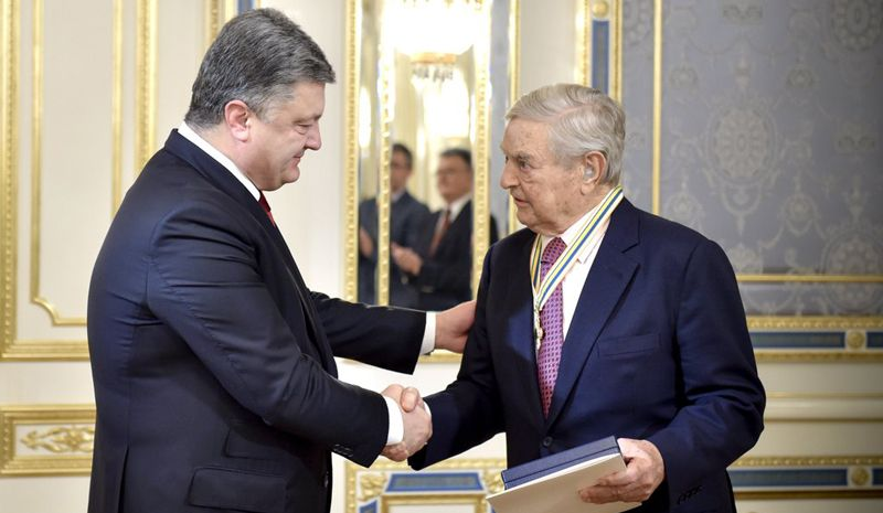 Ukrainian President Petro Poroshenko and George Soros meet (Ukraine photo)